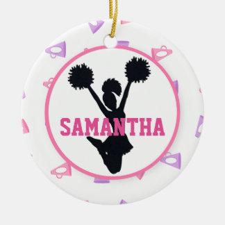 Pink and Purple Megaphones Cheerleader Ceramic Ornament