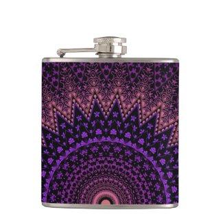 pink and purple mehandi kaleidoscope pattern hip flask