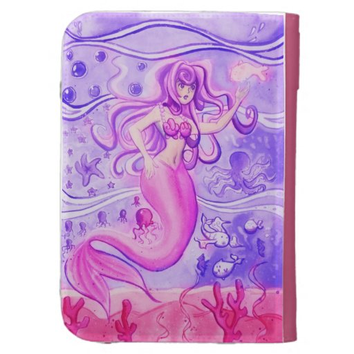 Pink and Purple Mermaid Watercolor Kindle 3 Cases