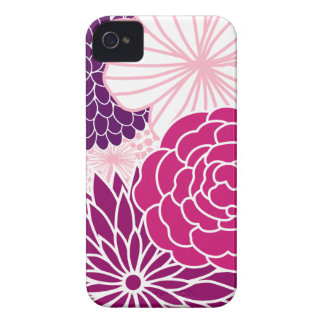 Pink and Purple Mod Floral iPhone 4 Case-Mate Case