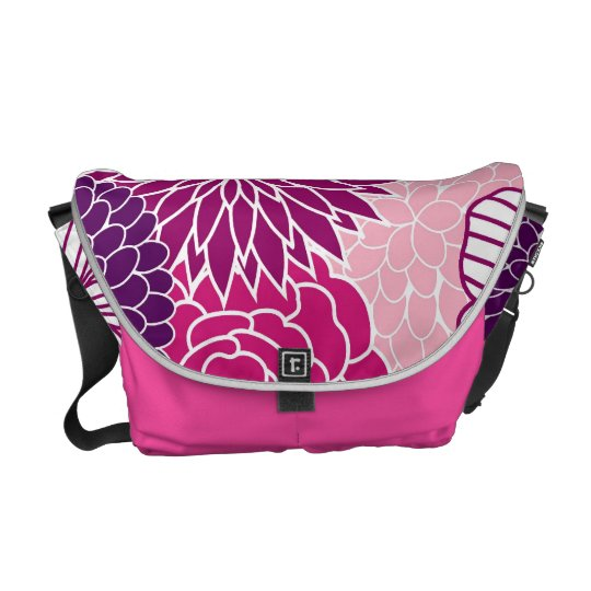 Pink and Purple Mod Floral Messenger Bag