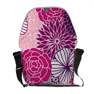 Pink and Purple Mod Floral Messenger Bags