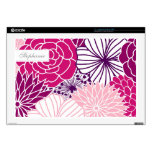 """Pink and Purple Mod Florals 17"""" Laptop Skins"""