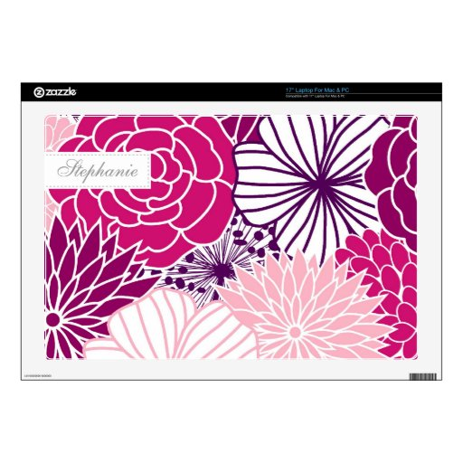 Pink and Purple Mod Florals Laptop Decals