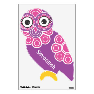 Pink and Purple Modern Floral Pattern Owl Wall Graphic