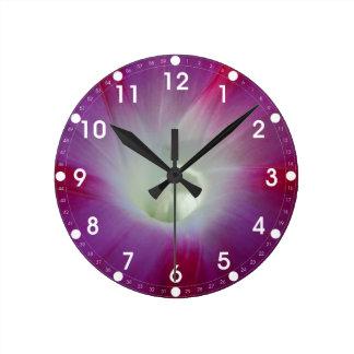 Pink and Purple Morning Glory Round Wall Clocks