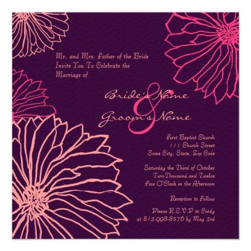 Pink And Purple Mum Flowers Wedding Invitation 525 Square Invitation Card