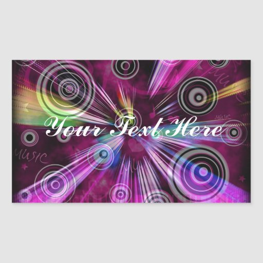 Pink and Purple Music Rectangle Sticker