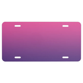 """Pink And Purple Ombre"" License Plate"
