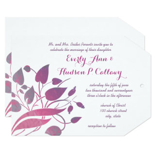 Pink and Purple Orchid Floral Wedding Invites