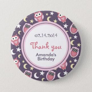 Pink and Purple Owl Cartoon Birthday Pin