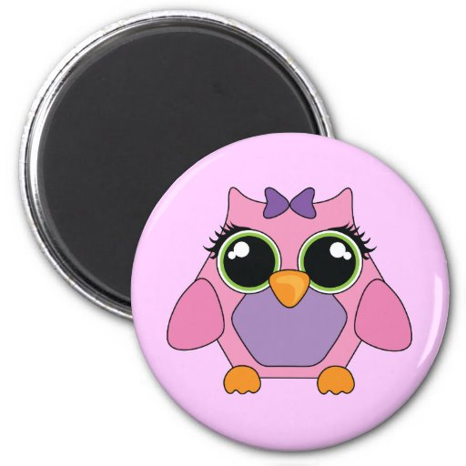 Pink and Purple Owl Magnet