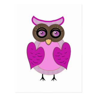 Pink and Purple Owl Vector Art Post Cards