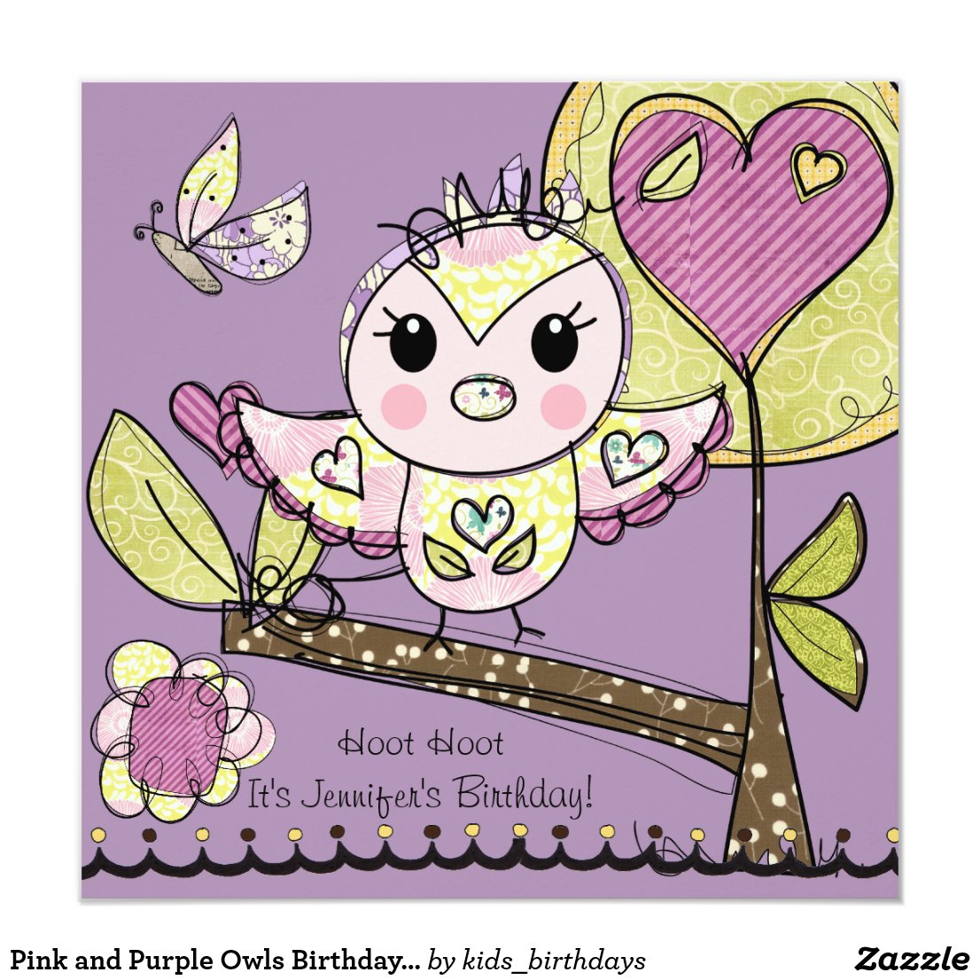 Pink and Purple Owls Birthday Invitation