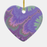 Pink And Purple Paisley Double-Sided Heart Ceramic Christmas Ornament
