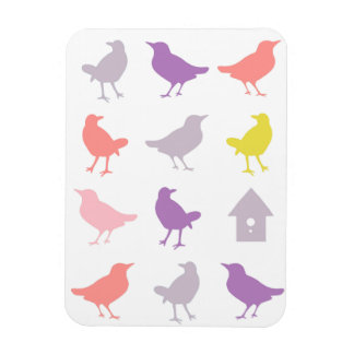 Pink and Purple Pastel Birds with Birdhouse Rectangular Photo Magnet