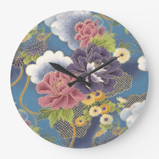 Pink and Purple Peonies Clock