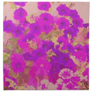Pink and Purple Petunias Printed Napkin