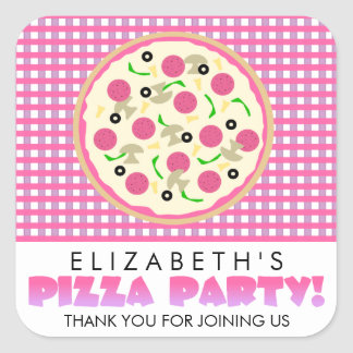 Pink and Purple Pizza Party Favor Stickers