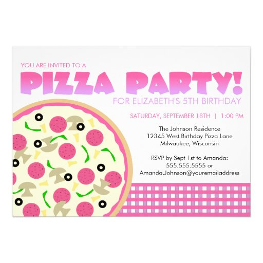 Personalized Kids pizza party Invitations – Pizza Party Invite