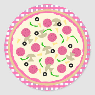 Pink and Purple Pizza Party Stickers
