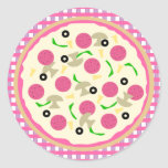 Pink and Purple Pizza Party Stickers Stickers