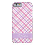 Pink and Purple Plaid Pattern Barely There iPhone 6 Case