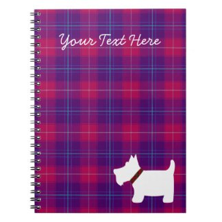 Pink and Purple Plaid Pattern with Scottie Dog Notebook