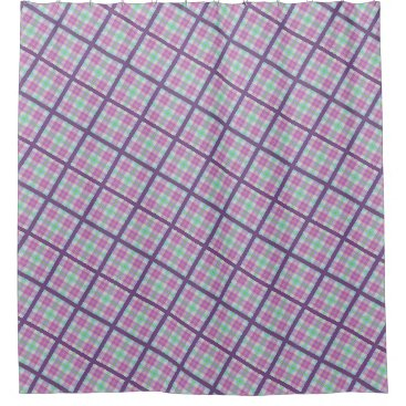 malhcreations Pink and Purple Plaid Shower Curtain