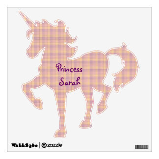 Pink and Purple Plaid Unicorn Wall Sticker