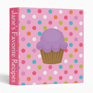 Pink and Purple Polka Dot Cupcake Recipe Binder