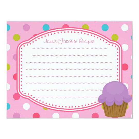Pink and Purple Polka Dot Cupcake Recipe Card