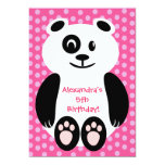Pink and Purple Polka Dot Panda Birthday Party Personalized Announcements