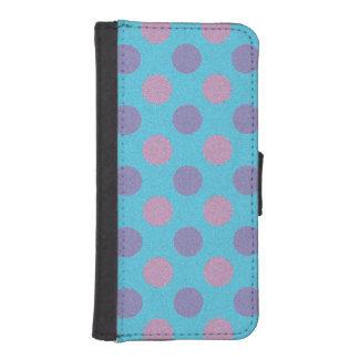 Pink and purple polka dots iphone wallet case phone wallets