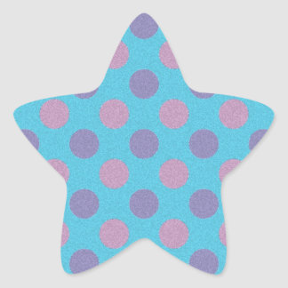 Pink and purple polka dots on blue background star sticker