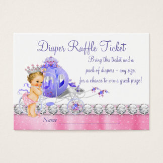 Pink and Purple Princess Diaper Raffle Ticket