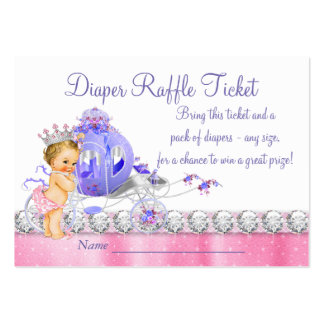 Pink and Purple Princess Diaper Raffle Ticket Large Business Card