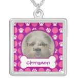 """Pink and Purple """"Puppy"""" Dots Custom Photo Necklace"""