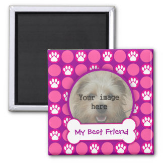 """Pink and Purple """"Puppy"""" Dots 2 Inch Square Magnet"""
