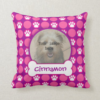 "Pink and Purple ""Puppy"" Dots Photo Template Pillows"