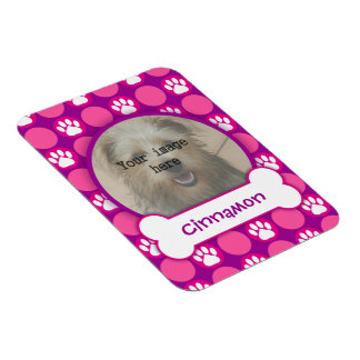 """Pink and Purple """"Puppy"""" Dots Photo Template Rectangular Photo Magnet"""