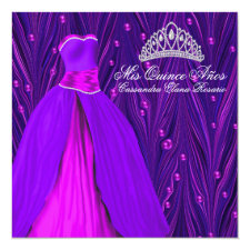 Pink and Purple Quinceanera Invitation