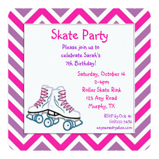Pink and Purple Roller Skate Birthday Invitation