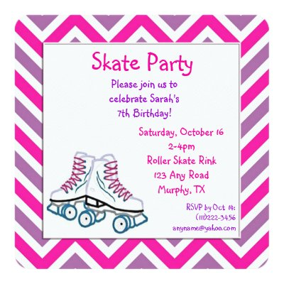 Fun girls Roller Skating birthday party invitation – Roller Skate Birthday Invitations