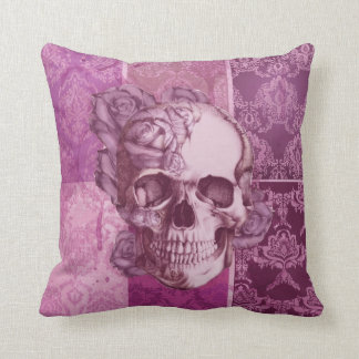 Pink and Purple Rose Skull damask pillow. Throw Pillow