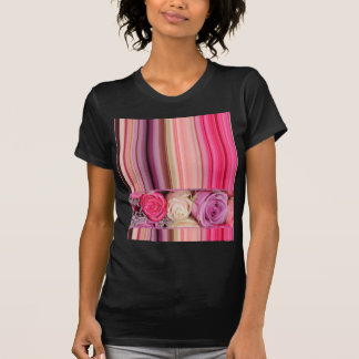 Pink and Purple roses and stripes by TheRoseGarden T-Shirt