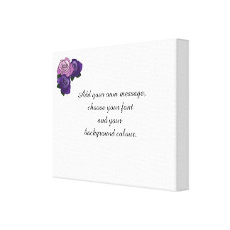 Pink and Purple Roses Custom Message Canvas Print