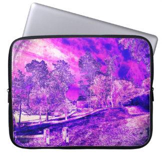 Pink And Purple Rural Scene Laptop Sleeve
