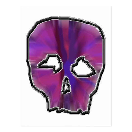 Pink and Purple Skull. Postcard