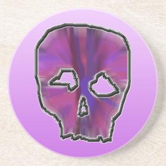 Pink and Purple Skull. Sandstone Coaster